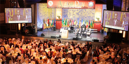 A packed house at the Manhattan Center in New York City listens to the message of the African Union.